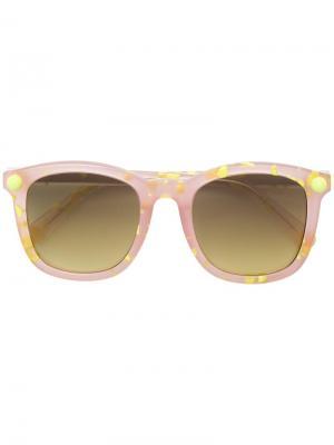 Солнцезащитные очки в квадратной оправе Christopher Kane Eyewear. Цвет: желтый