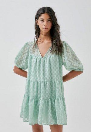 Платье Pull&Bear. Цвет: бирюзовый