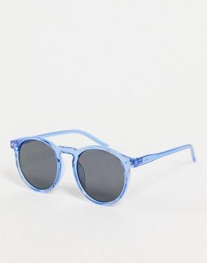 Солнцезащитные очки в круглой голубой оправе стиле унисекс Pause AJ Morgan