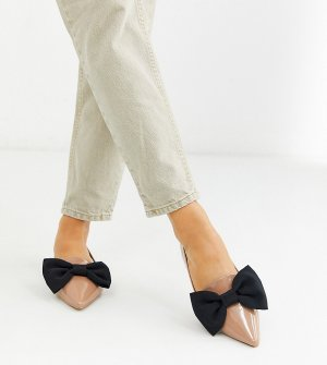 Бежевые балетки для широкой стопы с заостренным носком ASOS DESIGN-Бежевый