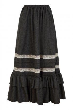 Шерстяная юбка макси с воланами Gucci. Цвет: серый