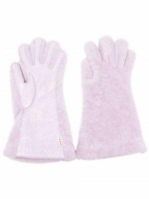 Меховые перчатки Marni. Цвет: фиолетовый