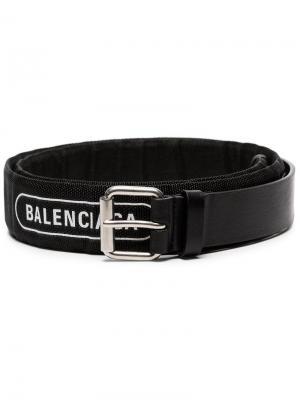 Ремень с принтом логотипа Balenciaga. Цвет: черный
