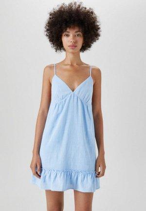 Сарафан Pull&Bear. Цвет: голубой