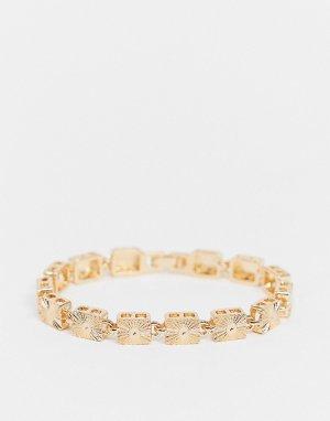 Золотистый винтажный браслет-цепочка из пластин с гравировкой ASOS DESIGN