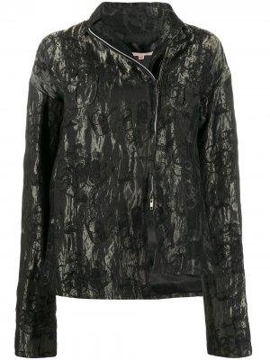 Куртка 1990-х годов с цветочным принтом и эффектом металлик Romeo Gigli Pre-Owned. Цвет: черный