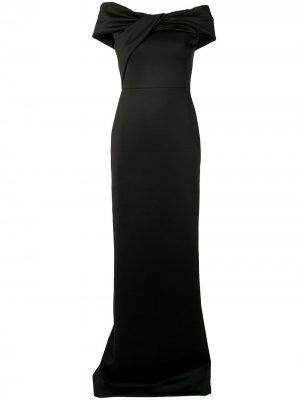Атласное платье с открытыми плечами и драпировкой Halston Heritage. Цвет: черный