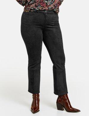 Расклешенные брюки Betty из искусственной замши SAMOON Gerry Weber. Цвет: black