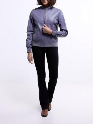 Кожаный бомбер ORSA Couture. Цвет: seryy