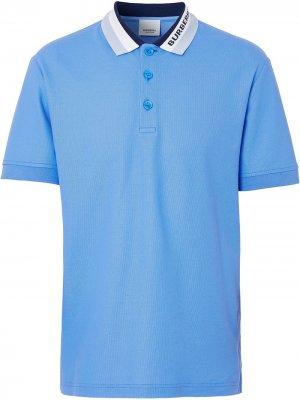 Рубашка поло вязки интарсия с логотипом Burberry. Цвет: синий