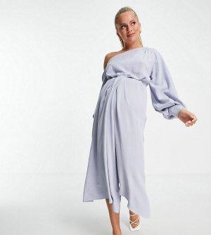 Платье миди на одно плечо из льна ASOS DESIGN Maternity-Голубой Maternity