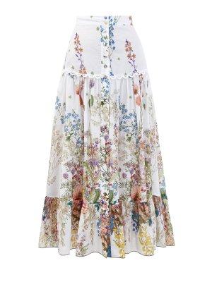 Свободная юбка-макси из хлопка с принтом Botanic CHARO RUIZ IBIZA. Цвет: белый