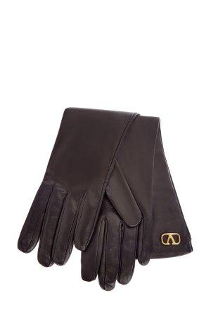 Перчатки из кожи наппа с внутренней отделкой шелка VALENTINO GARAVANI. Цвет: черный