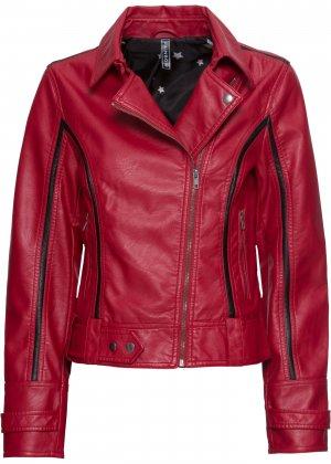 Куртка байкерская из материала под кожу bonprix. Цвет: красный