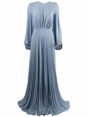 Платье макси с разрезом Elisabetta Franchi. Цвет: синий