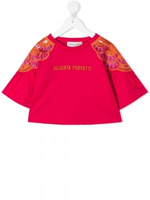 Embroidered wide-sleeves top Alberta Ferretti Kids. Цвет: розовый