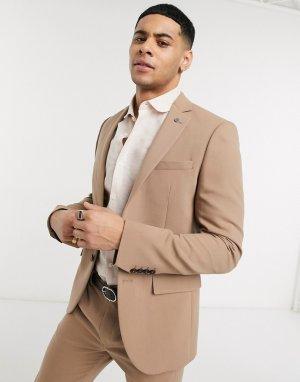 Приталенный пиджак верблюжьего цвета Avail London-Коричневый цвет London