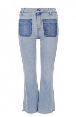 Укороченные расклешенные джинсы с бахромой Rag&Bone. Цвет: синий