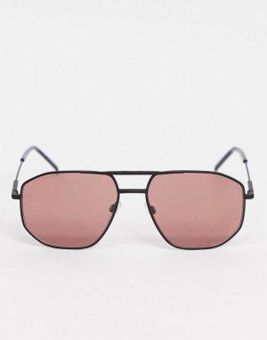 Солнцезащитные очки-авиаторы из матового черного металла с цветными стеклами -Черный Tommy Hilfiger