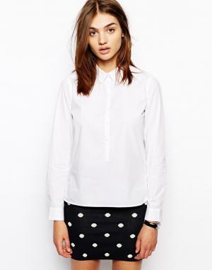 Белая классическая рубашка с планкой 3/4 BZR. Цвет: белый