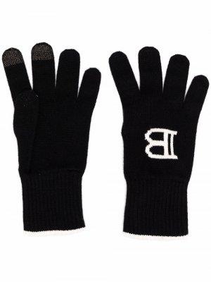 Intarsia logo knitted gloves Balmain. Цвет: черный