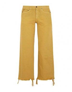 Джинсовые брюки-капри SIMON MILLER. Цвет: охра