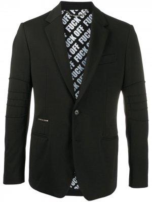 Однобортный пиджак узкого кроя Philipp Plein. Цвет: черный