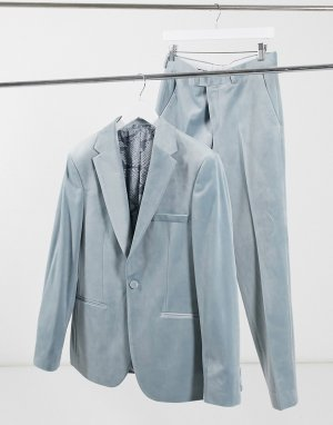 Серый бархатный пиджак Moss London BROS