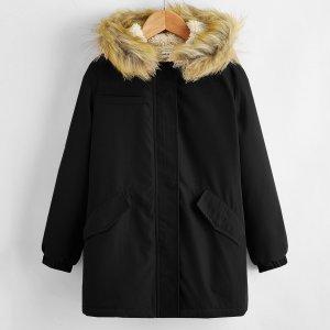 Пальто-парка на плюшевой подкладке для девочек SHEIN. Цвет: чёрный