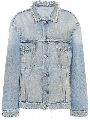 Джинсовая куртка с эффектом потертости Miu. Цвет: синий