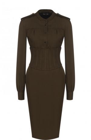 Приталенное платье-миди с погонами и широким поясом Tom Ford. Цвет: хаки
