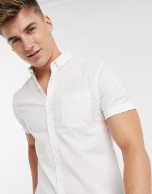 Белая оксфордская рубашка из органического хлопка с короткими рукавами -Белый New Look