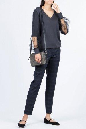 Темно-серый пуловер с прозрачными вставками на рукавах Fabiana Filippi