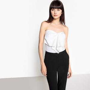Футболка-бюстье с бантом из поплина La Redoute Collections. Цвет: белый