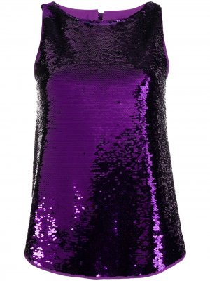 Sequin tank top Emporio Armani. Цвет: фиолетовый