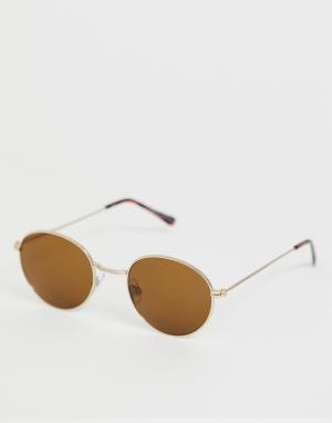 Круглые солнцезащитные очки в золотистой оправе -Золотой Bershka