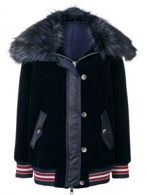 Куртка-бомбер с капюшоном меховой отделкой Ermanno