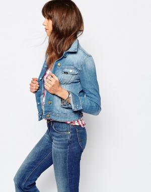 Джинсовая зауженная куртка Rider Lee. Цвет: синий