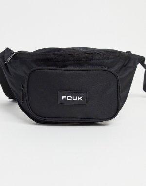 Черная сумка-кошелек на пояс с белыми вставками -Черный цвет French Connection