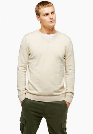 Пуловер Topman. Цвет: бежевый