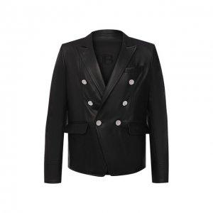 Кожаный пиджак Balmain. Цвет: чёрный