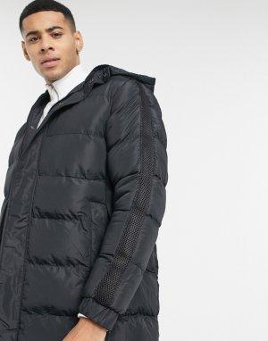 Утепленная удлиненная куртка -Черный цвет Brave Soul