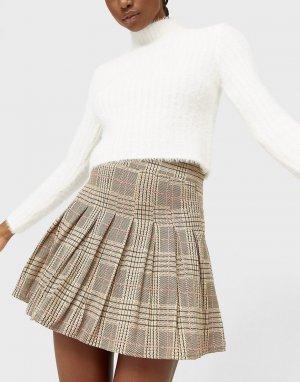 Плиссированная теннисная мини-юбка в коричневую клетку -Коричневый цвет Stradivarius