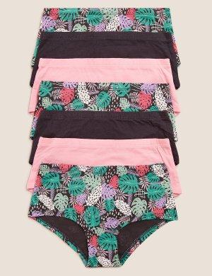 Трусы-шорты с принтом в виде листьев (7 шт) Marks & Spencer. Цвет: уголь
