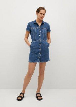 Джинсовое платье с пуговицами - Paty Mango. Цвет: темно-синий