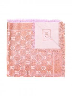 Трикотажный платок с узором Gucci Kids. Цвет: розовый