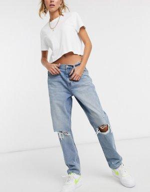 Синие джинсы в винтажном стиле с потертостями -Голубой American Eagle