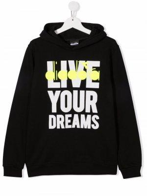 Худи с принтом Live Your Dreams Diadora Junior. Цвет: черный
