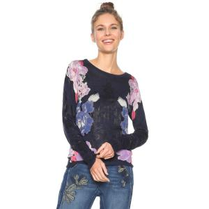 Пуловер из тонкого трикотажа, с круглым вырезом и цветочным принтом DESIGUAL. Цвет: темно-синий/рисунок