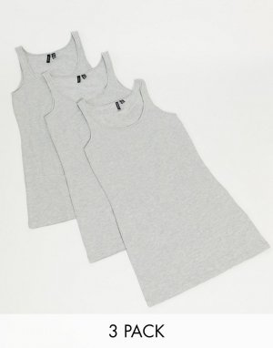 Набор из 3 серых маек -Серый Vero Moda